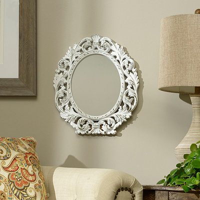 Ornate White Oval Framed Mirror, 13x15