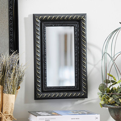 Distressed Black Framed Mirror, 10x16