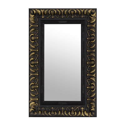 Antique Gold & Black Framed Mirror, 14x16