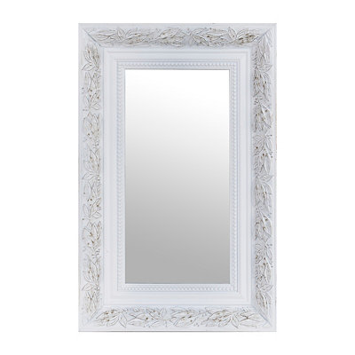 Distressed White Framed Mirror, 14x16
