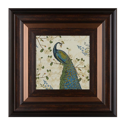 Floral Peacock I Framed Art Print