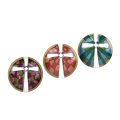 Round Glass Cross Plates, Set of 3