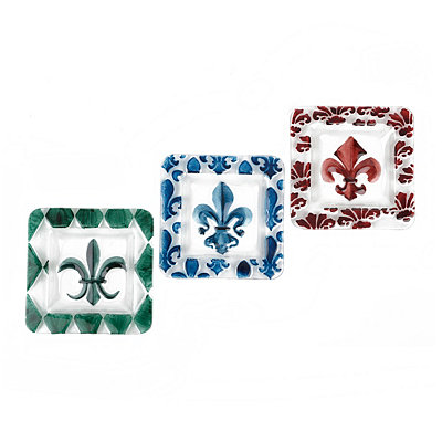 Square Glass Fleur-de-lis Plates, Set of 3