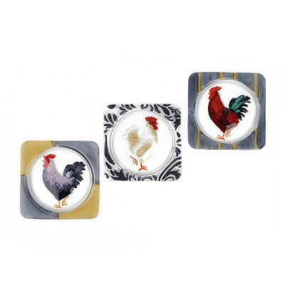 Glass Rooster Plates, Set of 3