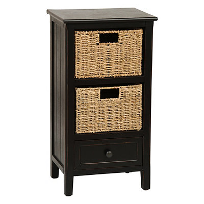 Black Beadboard 3-Drawer Storage Chest