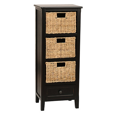 Black Beadboard 4-Drawer Storage Chest