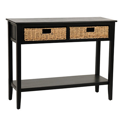 Black Beadboard 2-Drawer Console Table