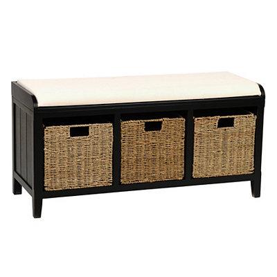 Black Beadboard Storage Bench