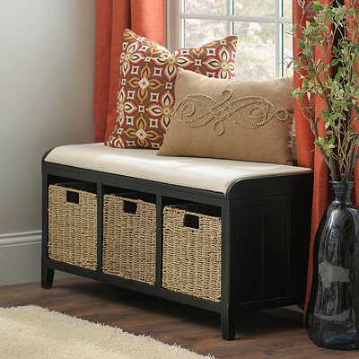 Black Beadboard Storage Bench