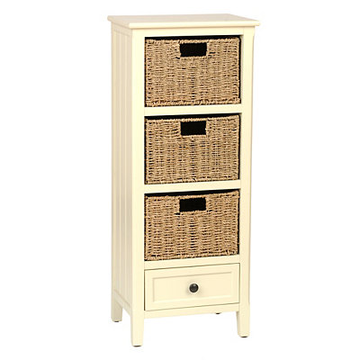 Cream Beadboard 4-Drawer Storage Chest