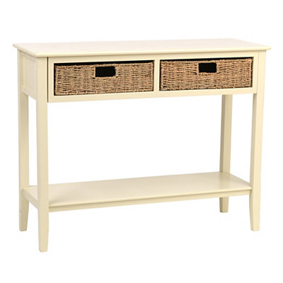 Cream beadboard 2 drawer console table for Sofa table kirklands