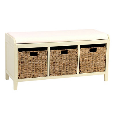 Cream Beadboard Storage Bench