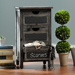 Weathered Gray Chalkboard 3-Drawer Chest