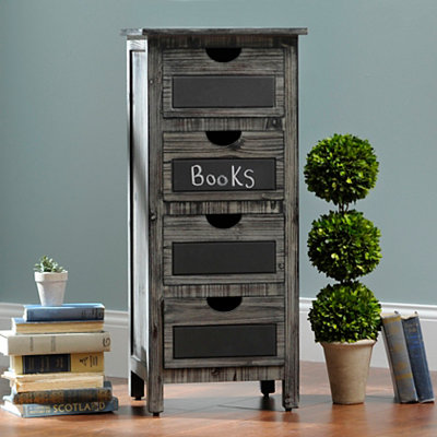 Weathered Gray Chalkboard 4-Drawer Chest