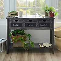 Weathered Gray Chalkboard Storage Console