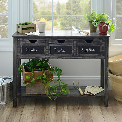 Weathered Gray Chalkboard Console Table