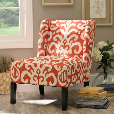 Coral Ikat Slipper Chair