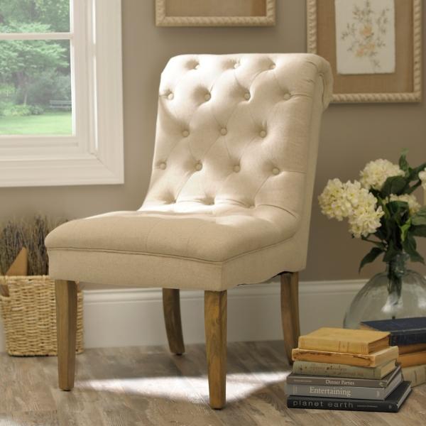 Beige Tufted Linen Slipper Chair