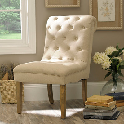 Beige Tufted Linen Slipper Chair