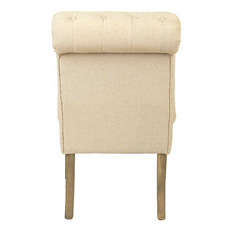 Beige Tufted Linen Slipper Chair Kirklands