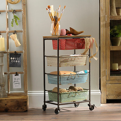 Multicolor 4-Drawer Metal Storage Cart