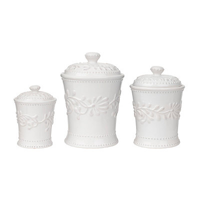 Bianca Leaf Canisters, Set of 3