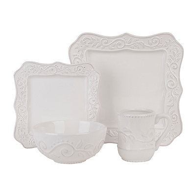 Marseille White Square Dinnerware Set
