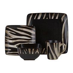 Safari Zebra Square Dinnerware Set