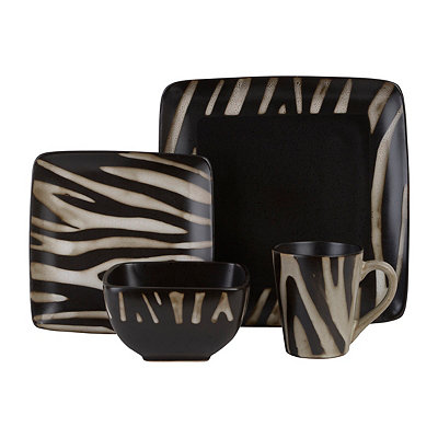 Safari Zebra Square Dinnerware Set