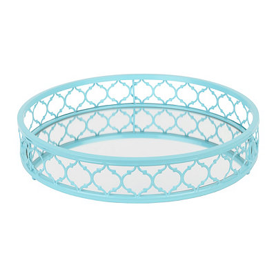 Turquoise Metal Mirrored Tray