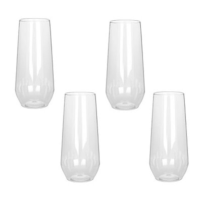 Plastic Stemless Flutes, Set of 4