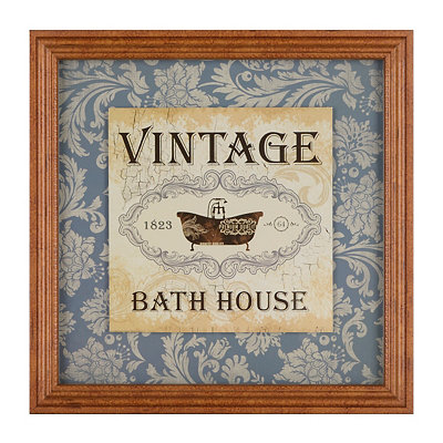 Vintage Bath House Framed Art Print