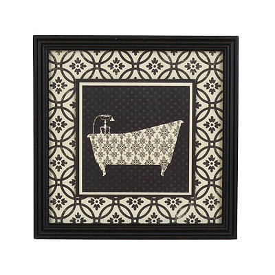 Black & White Damask Bathtub Framed Art Print