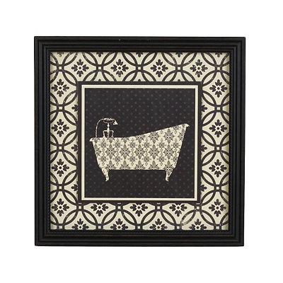 Black & White Damask Bathtub Framed Art Print