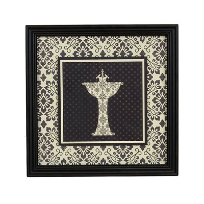 Black & White Damask Sink Framed Art Print