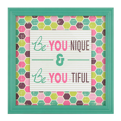 Pink & Green Be You Framed Art Print