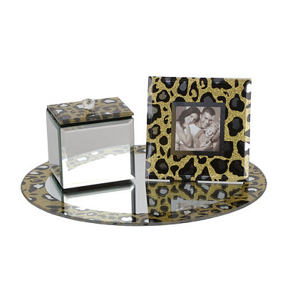 Leopard Print 3-pc. Mirror Vanity Tray Set