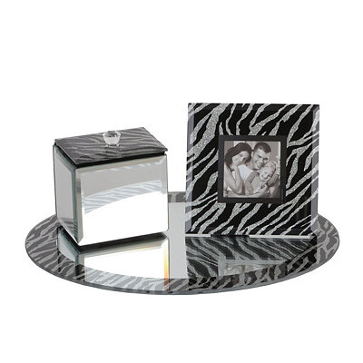 Zebra Print 3-pc. Mirror Vanity Tray Set