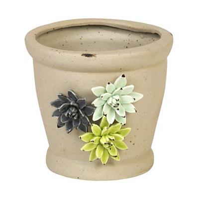 Ceramic Distressed Flowers Planter