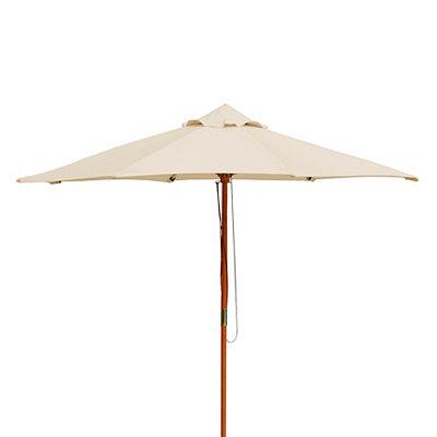 Tan Wood Pole Patio Umbrella
