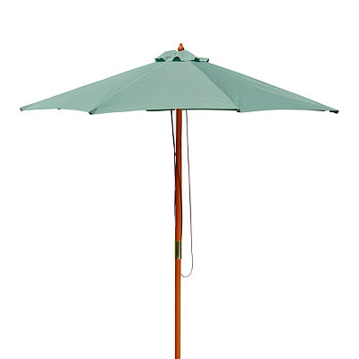 Turquoise Wood Pole Patio Umbrella