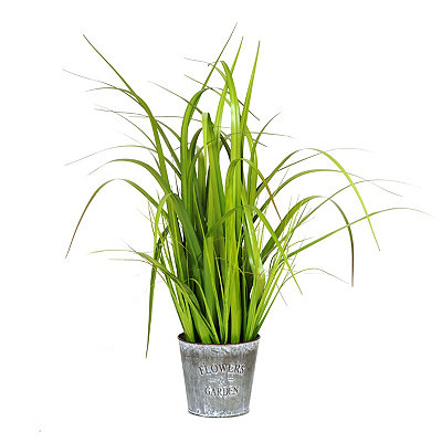 Grass Arrangement in Metal Gray Pot