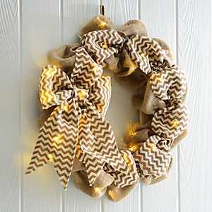 Pre-lit Burlap Wreath with Chevron Bow