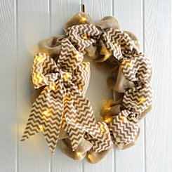 Pre-lit Burlap Wreath with Chevron Bow