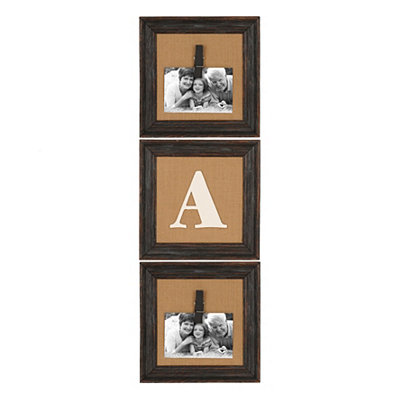 Burlap Monogram Picture Frames, Set of 3