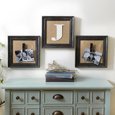 Burlap Monogram Collage Frames, Set of 3