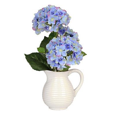 Blue Hydrangea Pitcher Arrangement