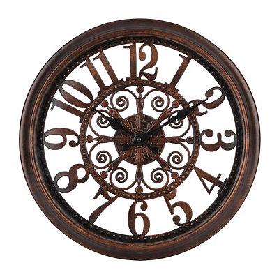 Distressed Bronze Open Face Clock