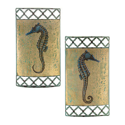 Blue Seahorse Metal Plaques, Set of 2