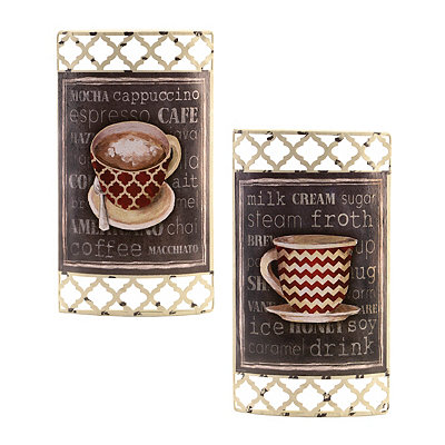 Coffee Cups Chalk Art Metal Plaques, Set of 2